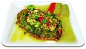 ปลาแซลมอนย่ำงมะนาว