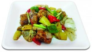 เนื้อปลากะพงผัดพริกไทยดำ